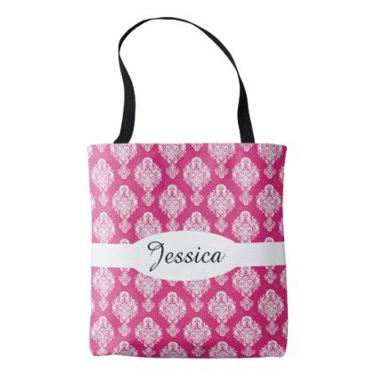 Hot Pink Damask Pattern Tote Bag - patterns pattern special unique design gift idea diy