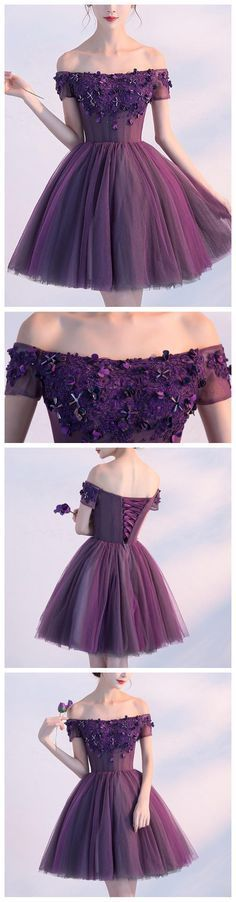 Grape Homecoming Dress,Cute A-line Off-the-shoulder Short Tulle Prom Dress Formal Dress Evening Dress With Lace