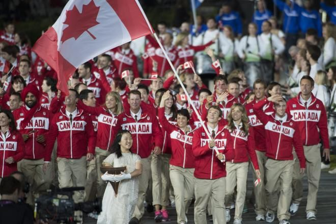 Canadian competitors at the opening ceremonies.