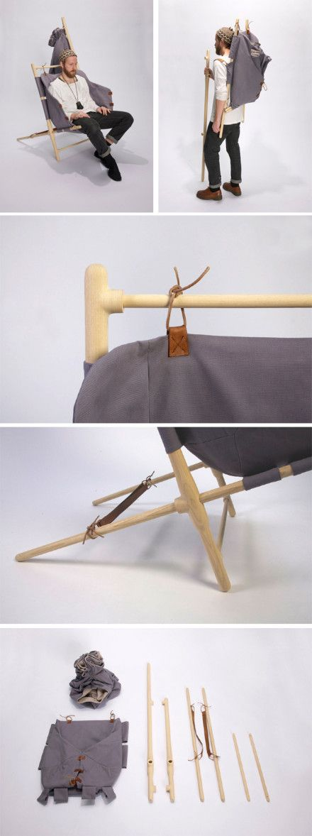 Hiker's delight= Back Pack , a Chair and a Walking Stick. Super cool camping gadget. I want one.