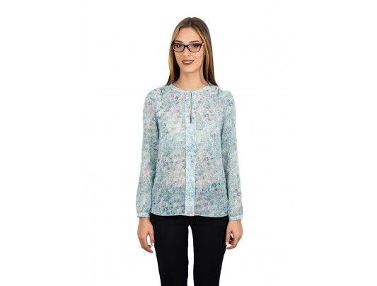 Bluza bleu cu motive florale - 39 lei