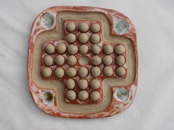 Brown solitaire game unique ceramic game  by BlueButterflyCrafts, £28.00