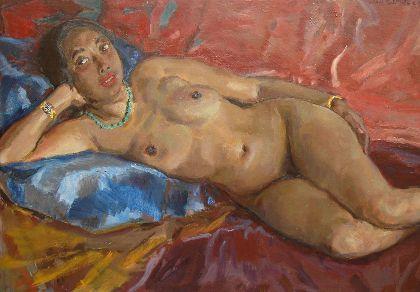 Johannes Carolus Bernardus 'Jan' Sluijters  Den Bosch 1881-1957 Amsterdam Liggende mulattin op blauwe lap, olie op doek 82,4 x 116,5 cm., gesigneerd r.b. en te dateren 1936