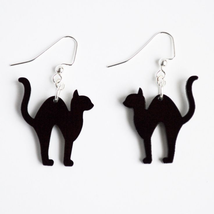 Laser cut acrylic black scaredy cat charm pendant earrings // Halloween jewelry // your choice of color