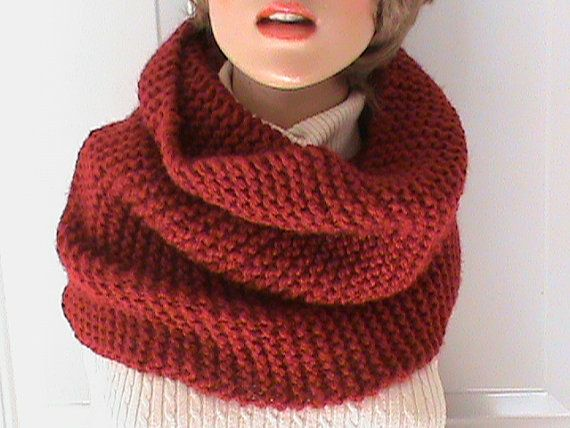 Chunky cowl snood super soft and warm winter accessory in red. Hand made knit womens cowl scarf, snood circle scarf, warm winter wear