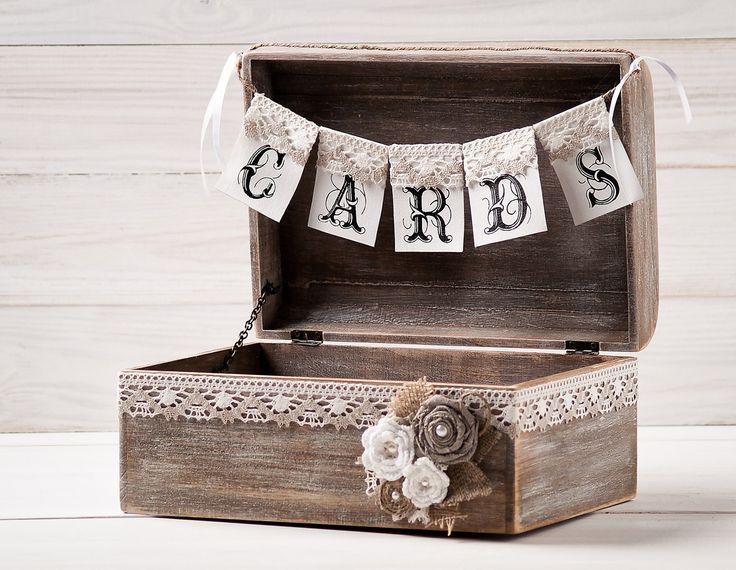 Rustic Wedding Cards Box Holder with Burlap by HandmadeDecoupage, €63.00