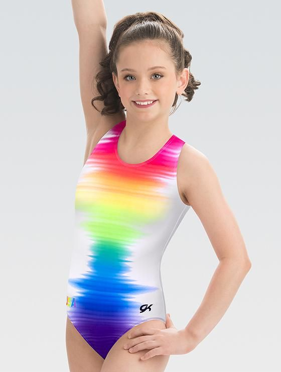 a47b202442ca This colorful rainbow gymnastics leotard pattern worn by the national team  is a huge hit among all athletes! This sublimated subfuse fabric style  comes with ...