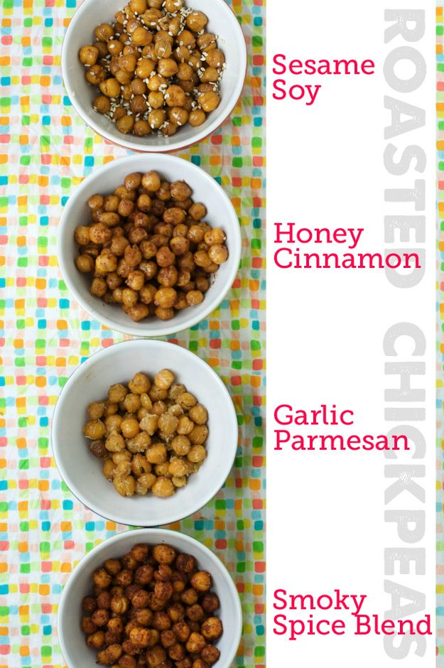 Forgot to go to the store before your guests arrive? An easy nosh to prepare from the cupboard - Roasted Chickpeas (and suggestions for seasoning).