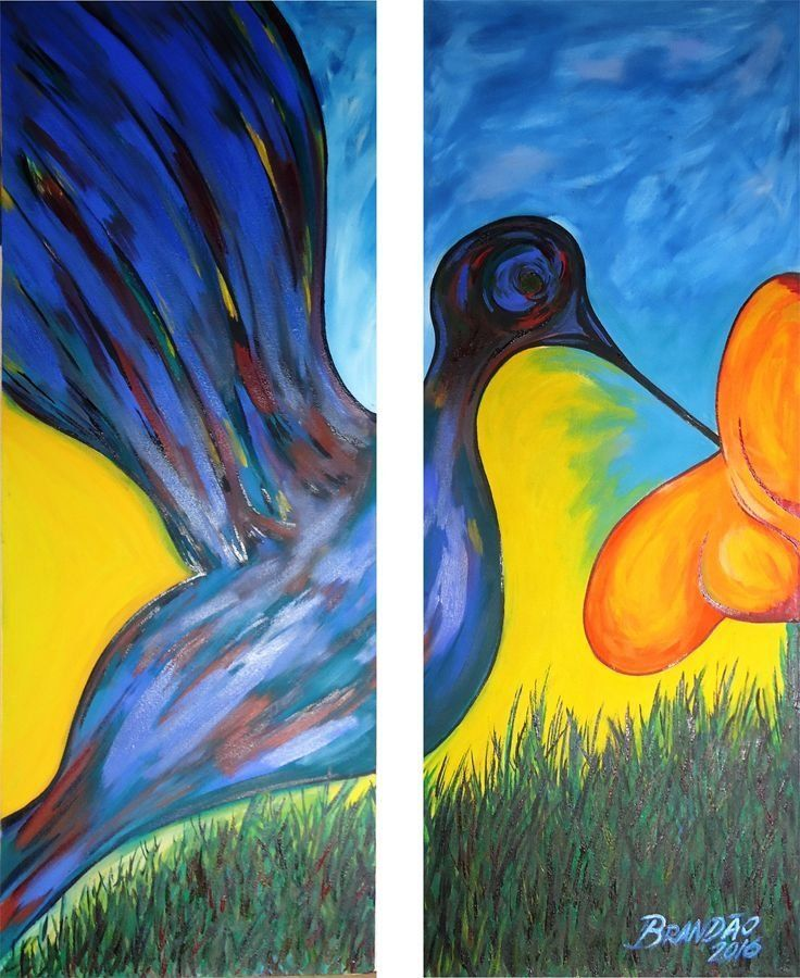 Painel  composto de 2 quadros - Beija flor