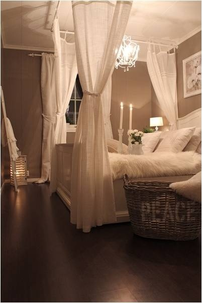 """Love the dim light- a romantic master bedroom defnitely needs to have a dimmer switch...and I love the white linens, so relaxing. Paint is Behr """"Castle Path"""" in matte finish"""