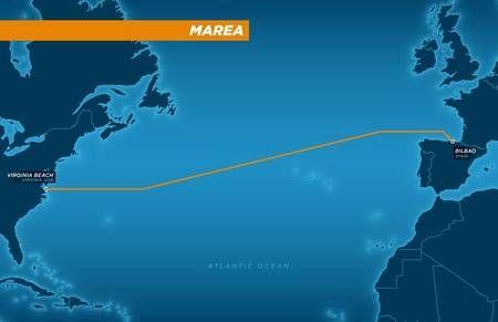 Le tracé du câble sous-marin Marea est inédit. En effet, c'est la première fois qu'un câble connectera les USA à l'Europe du Sud. © Microsoft, Facebook