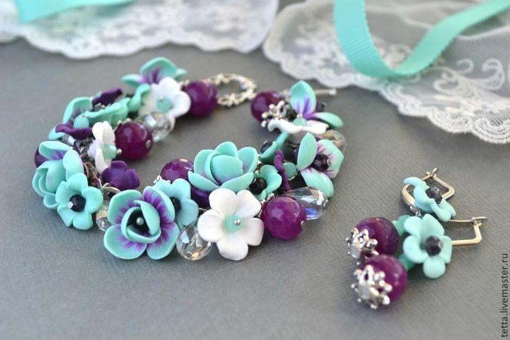 """Браслет с цветами и серьги """"Purple Fresh"""" - мятный,браслет с цветами,браслет и серьги"""