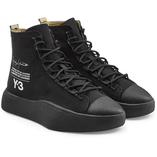 Adidas Y-3 Bashyo Sneakers ($320) ❤ liked on Polyvore featuring shoes, sneakers, black, adidas sneakers, black high top shoes, adidas trainers, high top shoes and black laced shoes