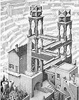 Mathematical Art of M.C. Escher -- Waterfall (optical illusion)