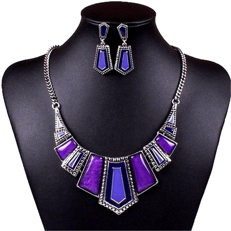 womens purple agate bib necklace dangle earring set tibetan silver #Unbranded