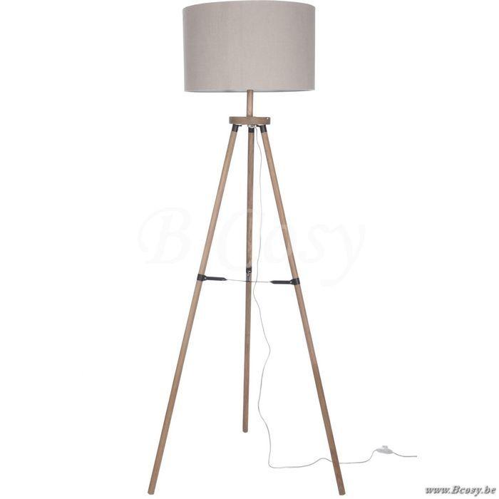 J-Line Houten staande lamp 3 poot driepikkel beige hout 160H Jline-by-Jolipa-52721
