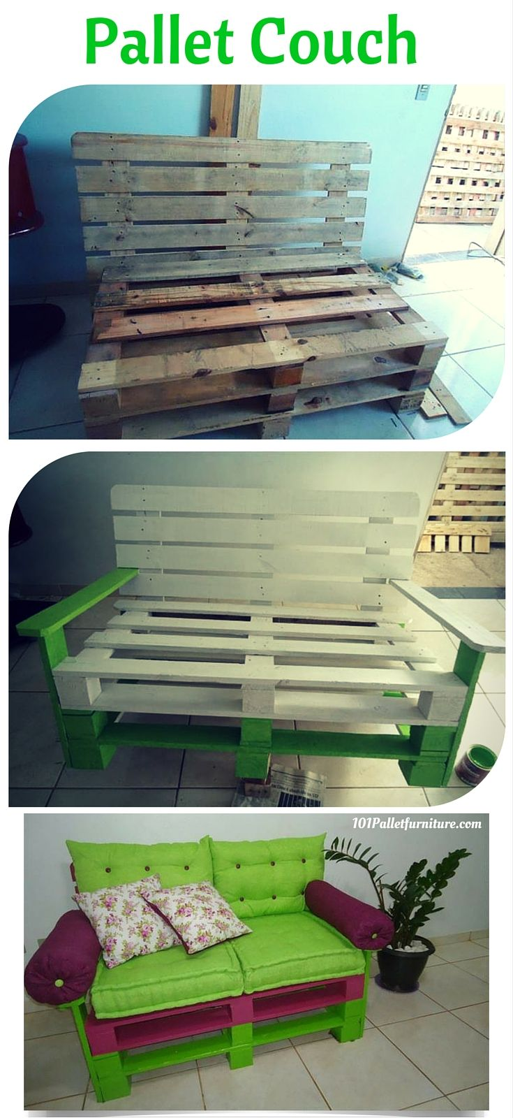 How to Make Pallet Couch? Simple ways to turn #pallets into furniture - 101 Pallet Furniture