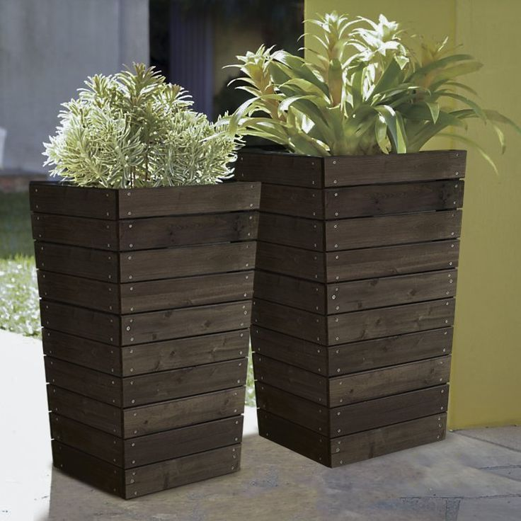 Have to have it. Coral Coast Dark Brown Stained Planter - 16 x 16 x 27.5 in. - $79.98 @hayneedle