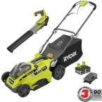 One+ Lithium 16 in. 18-Volt Cordless Lawn Mower with Jet Fan Blower Combo Kit