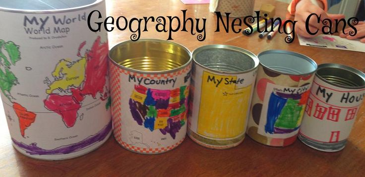 Me on the Map, Geography Nesting Cans AMAZING!! Teaches relationship between city, state, country, world