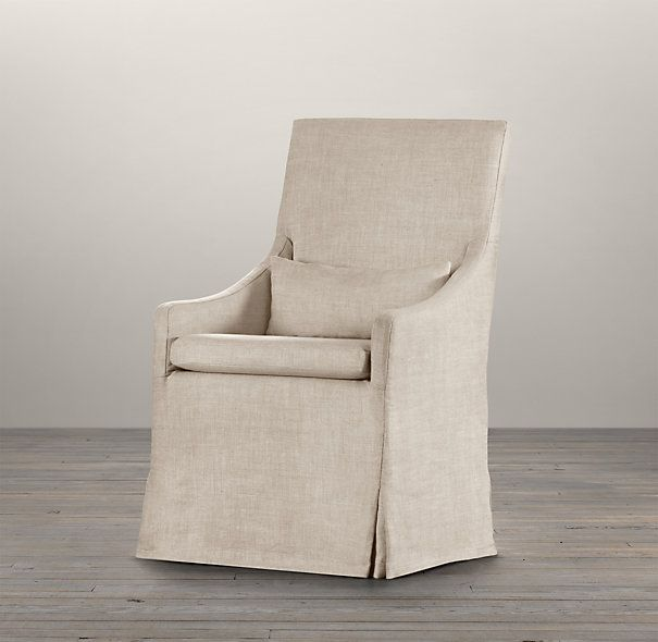 Slipcovered Slope Arm Dining Armchair | Fabric Arm & Side ...