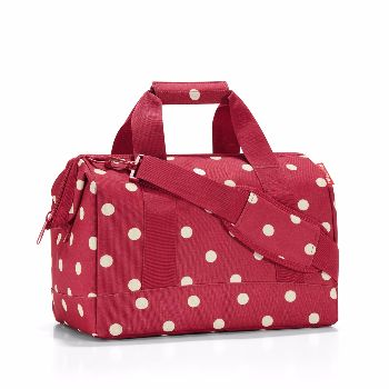Reisenthel Ruby Dots Medium ALLROUNDER M Shoulder Bag: ALLROUNDER M is based on the classic doctor's bag with wide opening and integrated metal brackets and zip fastening.   Thanks to the six inside pockets and long adjustable carrying strap this is a shoulder bag that also has 2 short carrying handles with grip.   Hand luggage size for most airlines