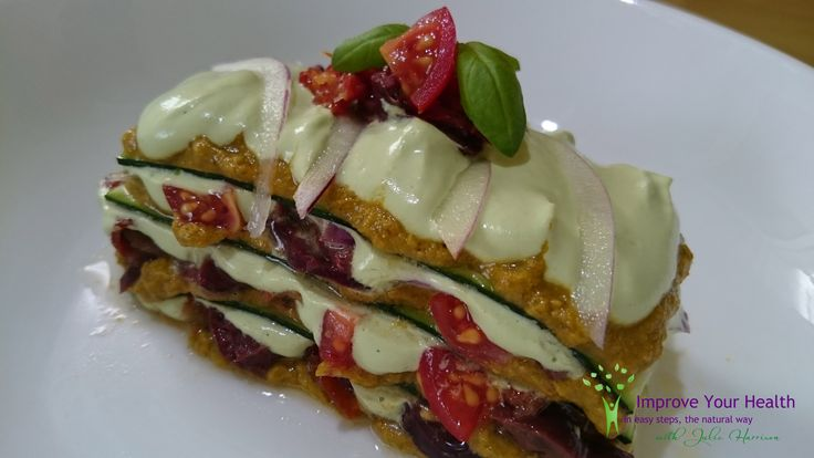 Raw Lasagne with cashew cream, tomato sauce, sundried tomatoes and Kalamata olives. With a sprinkling of fresh herbs