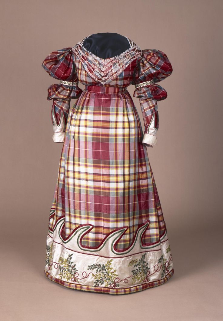 1832 Dress, National Museums Scotland. Woman's high-waisted dress of silk, with a lace-trimmed bodice and a band of white satin on the skirt, supposed to have been worn by Mrs Macpherson of Cluny: Scottish, 1832