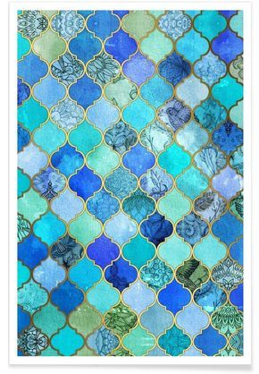 Cobalt Moroccan Tile Pattern VON Micklyn Le Feuvre…
