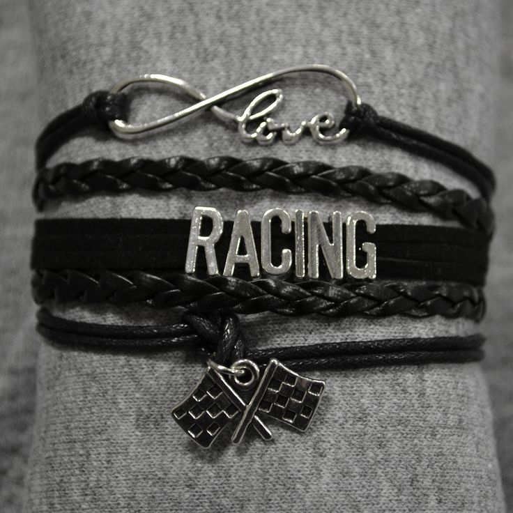 """Handmade leather wrap bracelet. Infinity love with RACING in center, followed by a checkered flag charm that dangles from the bottom. Easily adjustable claw clasp.The bracelet itself is 7"""" long with 2"""