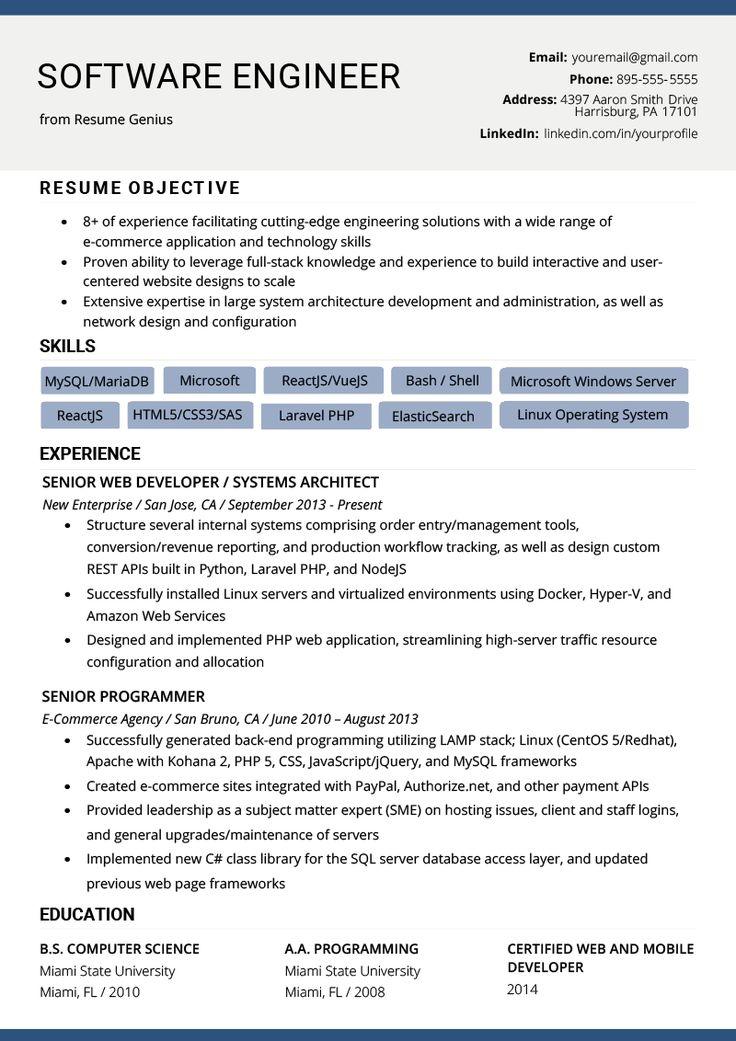 Software Engineer Resume Example & Writing Tips Resume