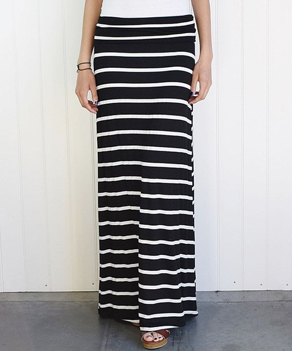 Look at this éloges Black Stripe Fold-Over Maxi Skirt on #zulily today!