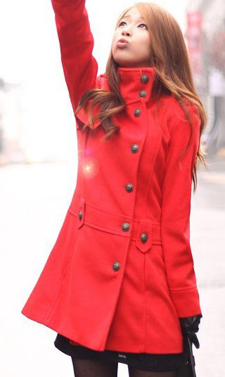 Sweet collar single breasted wool coat red