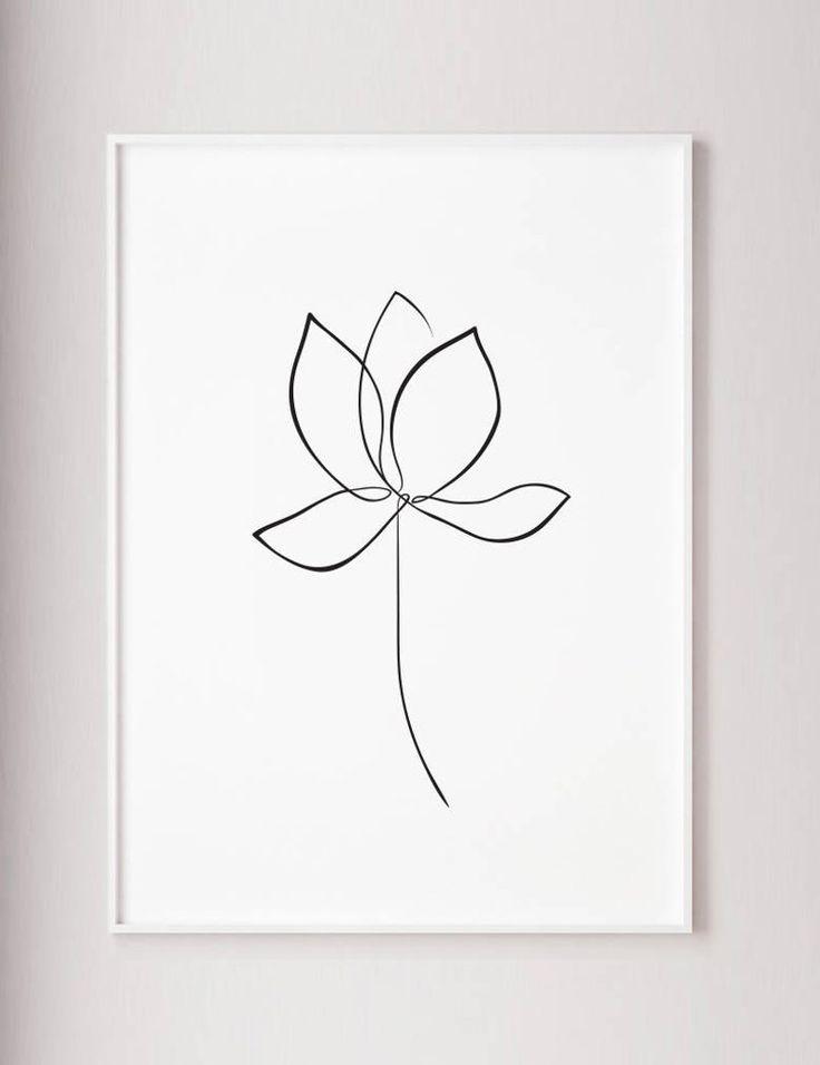 Lotus print, Water lily wall art, flower line art, lotus one line drawing, minimalist art, wabi sabi style, modern wall art, large printable – Poppy's Atelier
