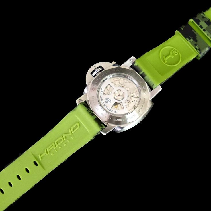 Green Digital Camo Rubber Strap for Panerai watches.