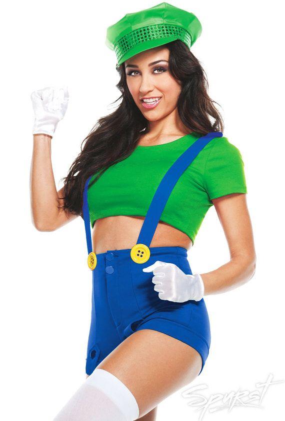 Sexy Luigi Costume Pin Up High Waist Shorts Green Mario By -2908
