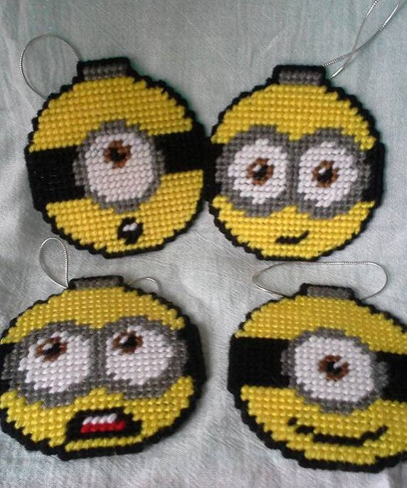 Plastic Canvas Minion Ornaments Set of 4 by FriendshipQuilting on Etsy