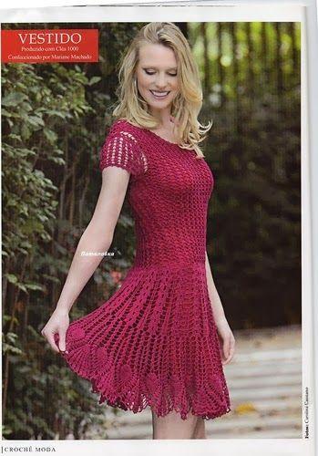 ++++++++++++++++++Crochetemoda:+Vestido+de+Crochet