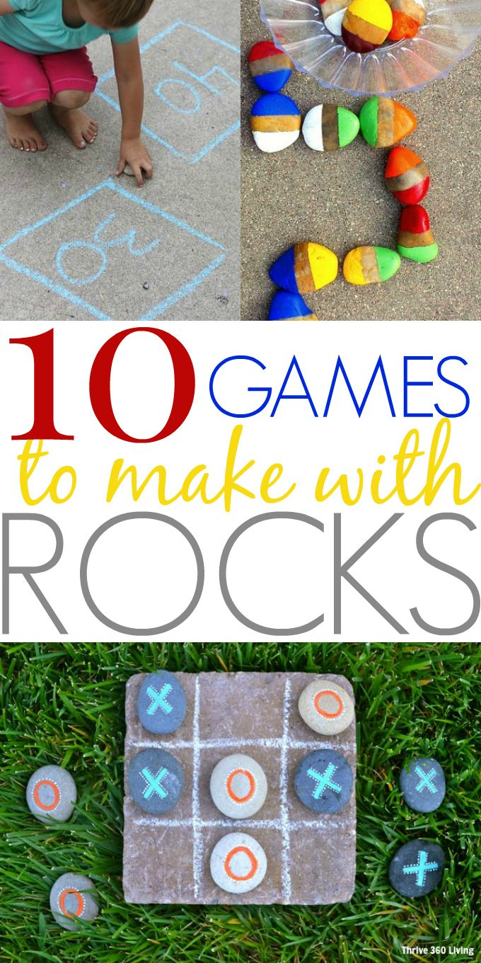 10 DiY outdoor games even kids can make, including checkers, tic tac toe, & more. The bonus is that these are all games you can make with rocks and stones!