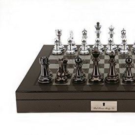 Dal Rossi Italy Silver/Titanium weighted Chess Pieces on Carbon Fibre Look/Gloss Finish Chess Board/Box 20″ with compartments – The Dal Rossi Italy luxury chess sets are a statement of extravagance coveted worldwide for their elegance. This Dal Rossi Italy Chess Set is the perfect alternative for the connoisseurs who are after THAT top of the […]