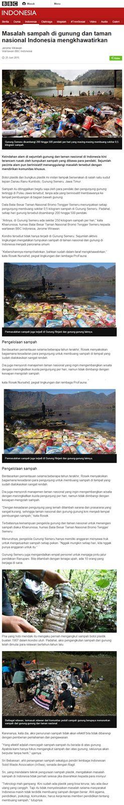 Bank Sampah Melati Bersih: Sampah Merambah Gunung dan Taman Nasional Indonesi...