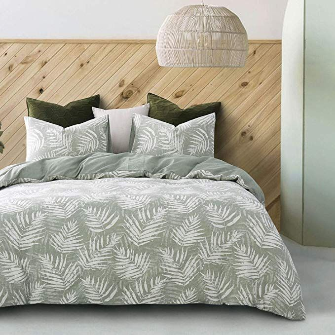 Wake In Cloud Leaves Duvet Cover Set 100 Jacquard Cotton Bedding Palm Tree Leaf Pattern On Green Zipper Closure 3pcs Duvet Cover Sets Cotton Bedding Bed