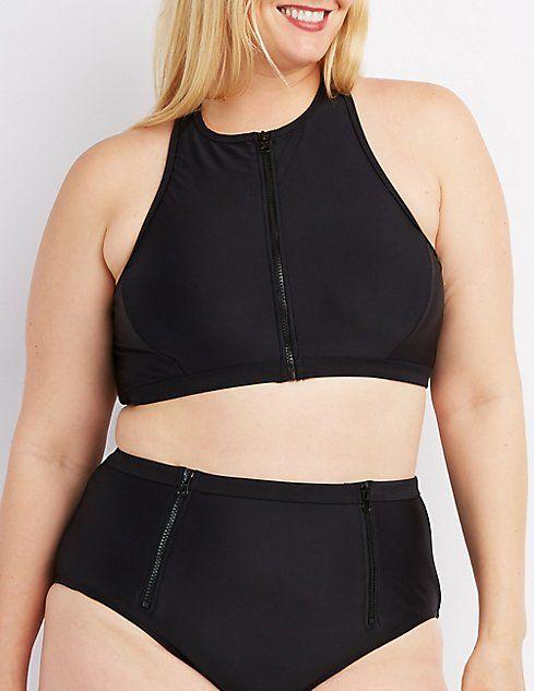 Plus Size Zip-Front Bikini Top