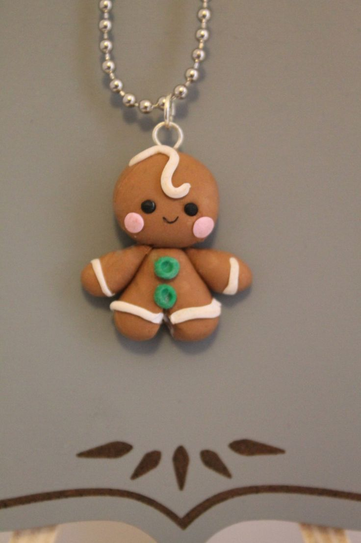 Gingerbread Man Charm,Clay Christmas Charm,Polymer Clay charm, Pendant,Cookie,Minature Food,Holiday Charm,Polymer clay figure,Kawaii charm by DandysDreamFigurines on Etsy https://www.etsy.com/listing/255027995/gingerbread-man-charmclay-christmas