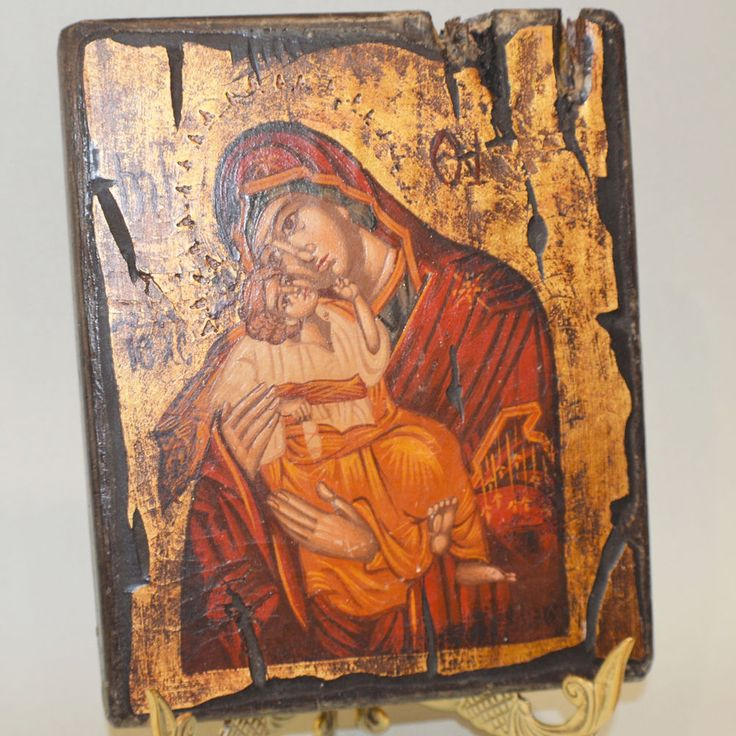 Greek Orthodox Byzantine Handpainted Icon Panagia Sweet Kisses