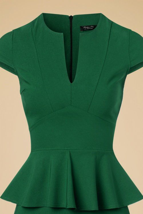 Vintage Chic Cap Sleeve Peplum Pencil Dress in Green 100 40 19601 20160928 3W