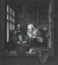 Omgeving van Gerard Dou: interieur met figuren. Jaar: ? Particulier bezit. Naar Gerard Dou: Een jongen en een oude vrouw met een haring in het venster van een winkel. ca. 1664.