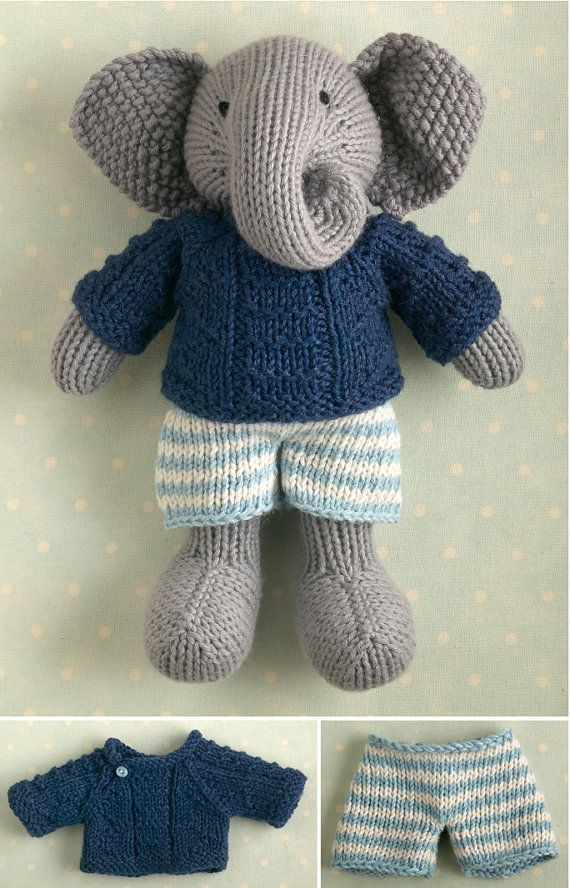 Knitted boy elephant in a textured sweater by Littlecottonrabbits