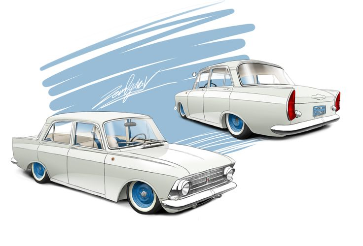 Nice sketch of stanced Moskvich 408
