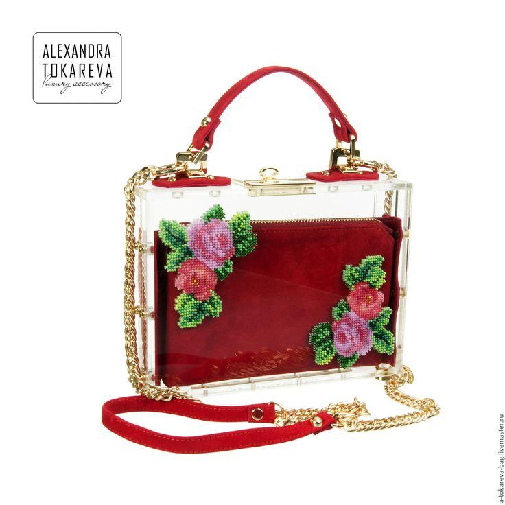 Купить Эксклюзивный клатч полностью прозрачный с уникальной вышивкой бисером - цветочный, Токарева Александра